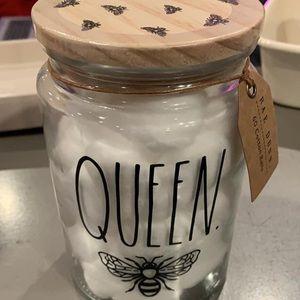 Rae Dunn queen bee cotton balls holder